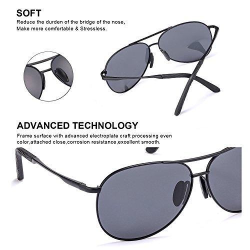 Ultraligero Gafas UVB Polarizadas de UVA Reflectante Conducir Hombre Protección Gris Metal Marco Sol para 100 Negro Aviador Anti Lente 0x0qHr6I