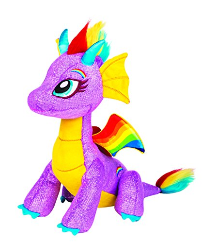 GlitterShine Dragons Plush Stuffed Toy Purple Rainbow Dragon - 12 Inches - Rainbow Glow