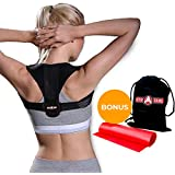 Back Posture Corrector for Men, Women & Teens, ACTIVGAINS Shoulder brace to correct slouching posture & hunched upper back, Comfortable & adjustable, For back, neck & shoulder pain relief + BONUS Resistance Band for strength training & drawstring bag
