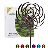 Solar Wind Spinner Improved 360 Degrees Swivel Multi-Color LED Lighting Solar Powered Glass Ball with Kinetic Wind Spinner Vertical Metal Sculpture Stake Construction for Outdoor Yard Lawn & Garden