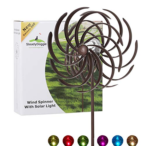 (Solar Wind Spinner Improved 360 Degrees Swivel Multi-Color LED Lighting Solar Powered Glass Ball with Kinetic Wind Spinner Vertical Metal Sculpture Stake Construction for Outdoor Yard Lawn & Garden)