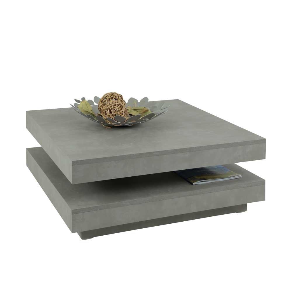 Pharao24 Wohnzimmer Couchtisch mit drehbarer Tischplatte Beton Grau