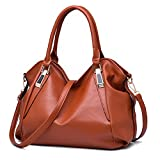 SCENTW Ladies PU Leather Shoulder Bags Hobo Purses Women Designer Handbags Fashion Crossbody Tote Bags Stylish Messenger Bags (Brown)