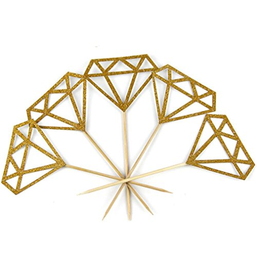 Price comparison product image LiPing Diamond Cupcake Toppers Glitter Diamond for Cupcake Bridal Shower Decoration Food Picks (30PCS,  Gold)