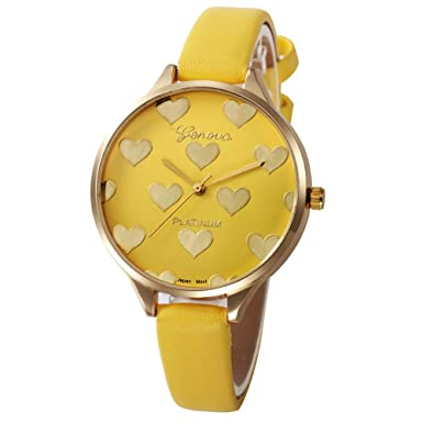 Bestow Reloj Mujeres Casual Checkers Faux Leather Reloj Analšgico de Cuarzo Geneva Womens Love(Amarillo): Amazon.es: Ropa y accesorios