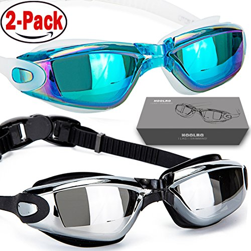 HOOLRO Swim Goggles, Pack of 2, Swimming Goggles,Swim Goggles for Adult Men Women Youth Kids Child, Anti Fog UV Protection Lenses Black Blue By