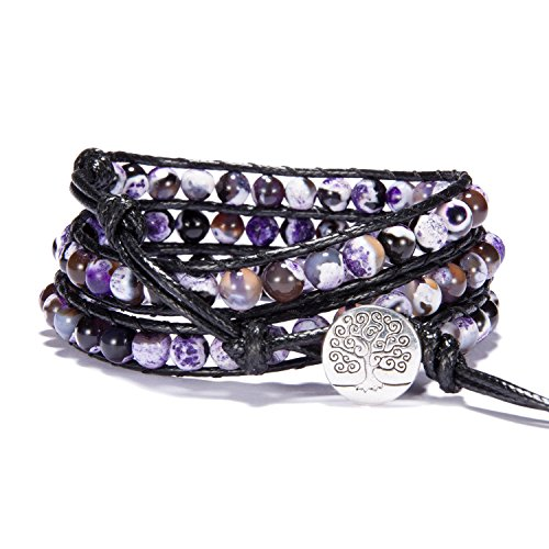 (Bonnie Wrap Bracelet Leather Gemstones Beaded Tree of life Button for Women (6mm agate))