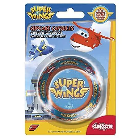 Dekora 339246 Capsulas Cupcakes con Diseño Superwings-50 Unidades, Papel, Azul, 50