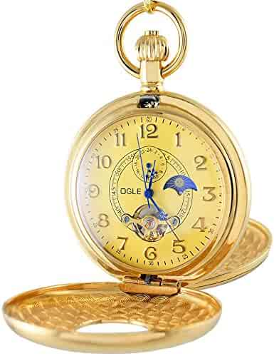 OGLE Vintage Copper Double Cover Tourbillon Phases Moon Chain Fob Self Winding Automatic Mechanical Pocket Watch/Gold Dial (Gold Dial)