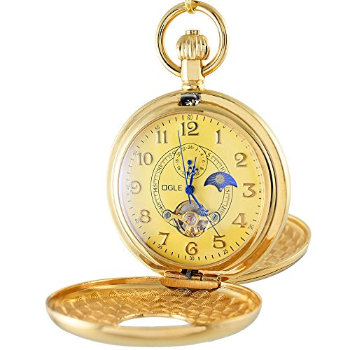 OGLE Vintage Copper Double Cover Tourbillon Phases Moon Chain Fob Self Winding Automatic Mechanical Pocket Watch/Gold Dial (Gold ()
