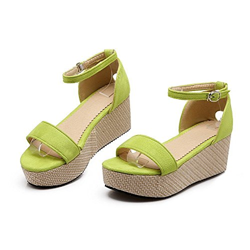AllhqFashion Mujeres Cuero Puntera Abierta Plataforma Hebilla Sólido Sandalia Verde