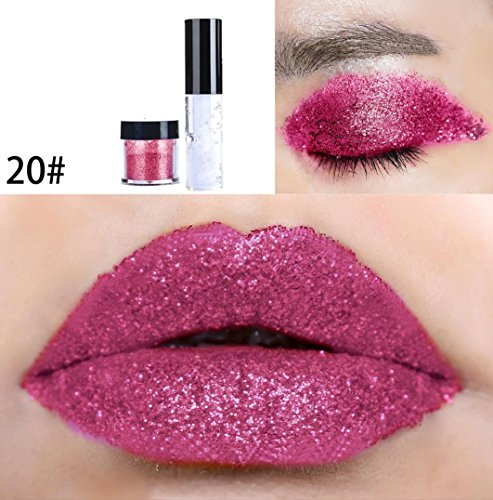 Price comparison product image Fheaven 20 Colors Available Shimmer Glitter Lip Gloss Powder Palette Glitter Lipstick Cosmetic Professional Makeup Eye Shadow Powder (T)