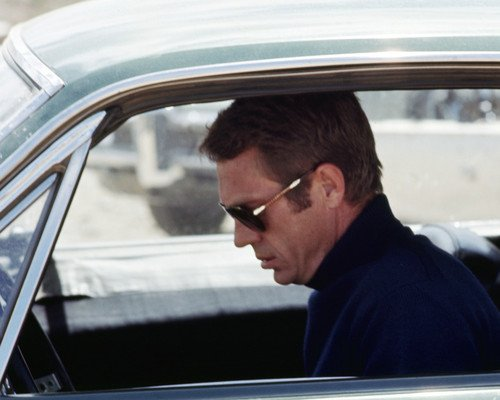 Bullitt Steve McQueen iconic Persol 0714 Sunglasses Ford Mustang car cool 8x10 Promotional Photo