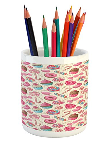 Ambesonne Candy Cane Pencil Pen Holder, Yummy Sweet Lollipop