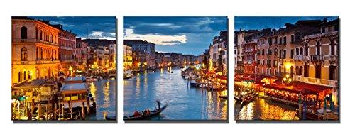 Yin Art- 3 Panels Venice Night Canvas Prints Landscape City Pictures Paintings on Canvas Wall Art Modern Cityscape Artwork 30x30cm