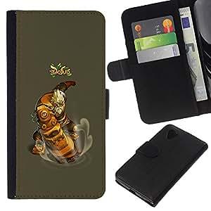 YiPhone /// Tirón de la caja Cartera de cuero con ranuras para tarjetas - Dofus - LG Nexus 5 D820 D821