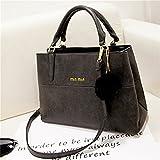 Rurah Women's Vintage Leather Top-Handle Tote Shoulder Bag Handbag Hair Ball Shoulder Bag,black