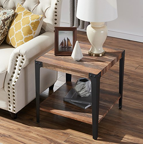 O K Furniture Industrial Square Side End Table with Lower Shelf for Living Room Bedroom, Vintage Brown 1-Pcs
