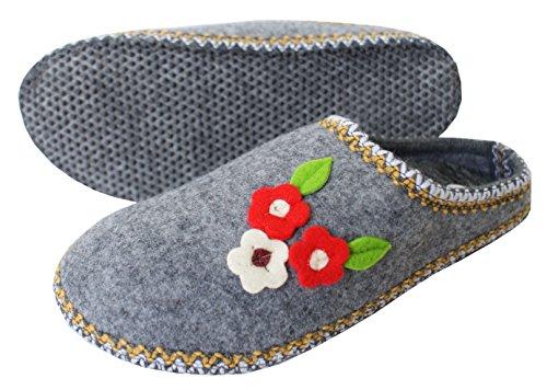Filzpantoffeln für Frauen, Hausschuhe aus Filz / Hüttenschuhe Grau mit roter Blume ( Anti-Rutsch Sohle )