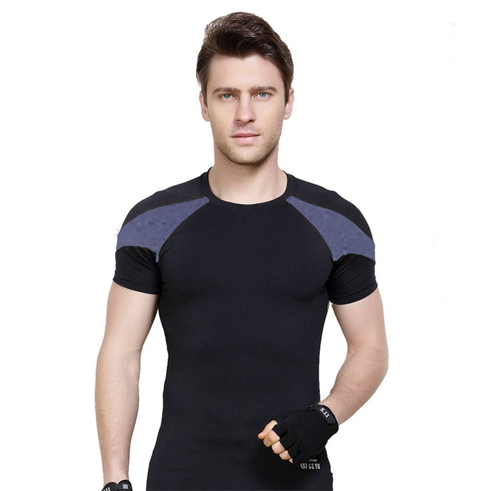 Fitibest - Maglietta Atletica da Uomo, Maglietta Sportiva compressiva, Tuta per Allenamento a Manica Corta Black And Grey Asia XXL= L