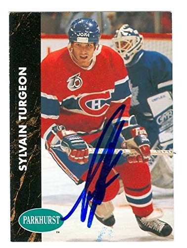 Sylvain Turgeon autographed Hockey Card (Montreal Canadiens) 1991 Parkhurst #91 - Autographed Hockey Cards -