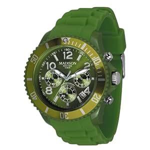 Madison New York Candy Chrono U4362-18 - Reloj cronógrafo de cuarzo unisex, correa de silicona color verde (cronómetro, agujas luminiscentes, cifras luminiscentes)