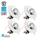 TORCHSTAR High CRI90+ 6inch Dimmable Gimbal Recessed LED Downlight, 10W (75W Equiv.), ENERGY STAR, 5000K Daylight, 950lm, Adjustable LED Retrofit Lighting Fixture, 5 YEARS WARRANTY, Pack of 4