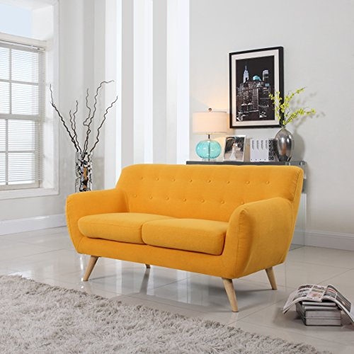 Mid-Century Modern Linen Fabric Sofa, Loveseat in Colors Lig