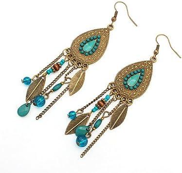 LUFA Mujeres Ovaladas de las hojas de las muchachas Gancho de la aleación Clavos de oído Borlas Pendientes largos Azul