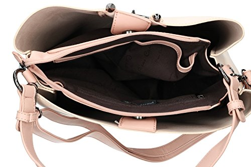 Borsa donna spalla con tracolla PIERRE CARDIN rosa con apertura zip VN1749