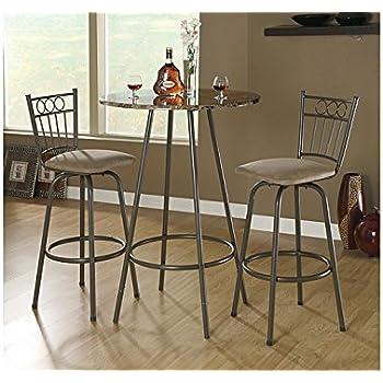 Monarch Specialties Metal Diameter Bar Table, 30 Inch,  Cappuccino/Marble/Coffee