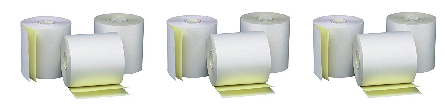 PM Company Perfection Two Ply Carbonless Rolls, 3 X 95 Feet, White/Canary, 50 Rolls Per Carton (07901) (3 X Pack of 50)