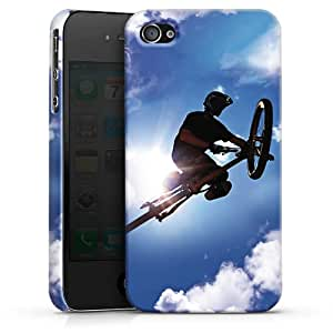 Carcasa Design Funda para Apple iPhone 4 / 4S PremiumCase white - Flying so high with my Bike in the Sky