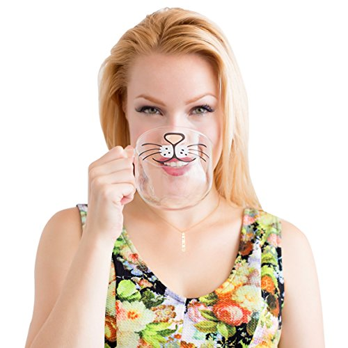 The Original Cat Beard Mug – Cute and Funny Glass Coffee Mug by Nacisse 51fynoVyB1L