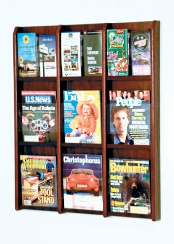 Wooden Mallet LM-12 Wall Mounted 9-Pocket Magazine or 18-Pocket Brochure Rack from ABC Office in Dark Red Mahogany Mahogany Wall Magazine Holder
