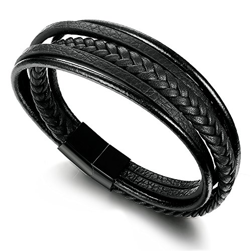 Braided Black Leather Bracelet (Jstyle Braided Leather Bracelet for Men Bangle Wrap Stainless Steel Magnetic-Clasp 8 Inch Black)
