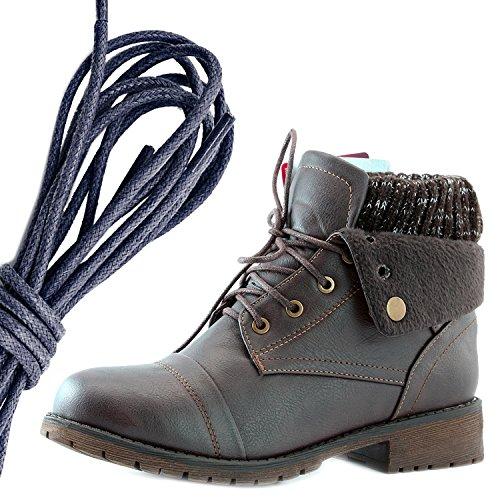 Dailyshoes Da Donna Stile Combattimento Lace Up Maglione Stivaletto Alla Caviglia Con Taschino Per Porta Carte Di Credito Tasca Portafogli, Blu Navy Pu