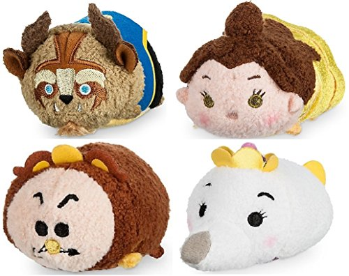 Disney Store Beauty & Beast Mini Tsum Tsum Set of 4 Cogwsort