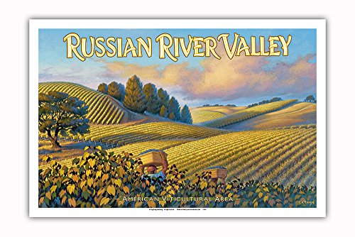 Pacifica Island Art Russian River Valley Wineries - Along Westside Road - North Coast AVA Vineyards - California Wine Country Art by Kerne Erickson - Master Art Print - 12in x 18in