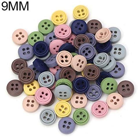 LGCD 赤ちゃんのスクラップブックの装飾縫う工芸のための服9 / 10MM装飾ボタンの50pcsのミックス色の木製ボタンラウンド4穴ボタン (Color : 1)