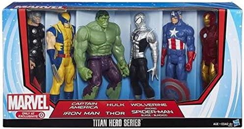 Marvel Titan Hero Series 6 Pack with Armored Spider-Man, Captain ...