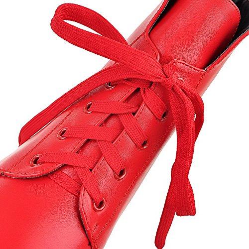 AllhqFashion Mujeres Cordones Tacón Alto Pu Sólido Caña Baja Botas Rojo