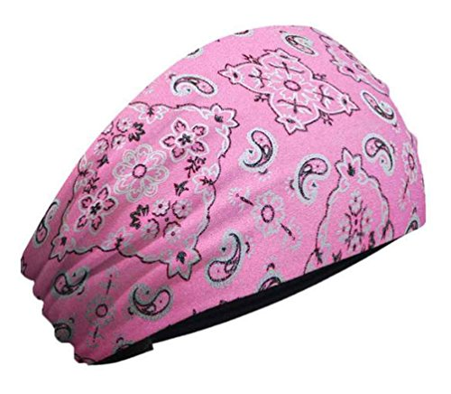 Bandana Pink Paisley Hot Made (That's A Wrap Women's Foil Bandana Hot Pink Paisley Knotty Band, Pink KB1625)