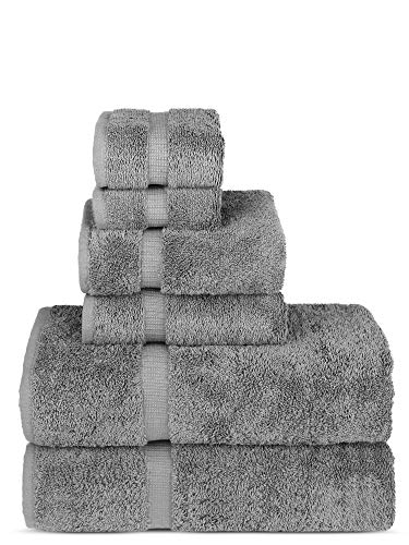 (Luxury Spa and Hotel Quality Premium Turkish 6-Piece Towel Set (Gray, 2 x Bath Towels, 2 x Hand Towels, 2 x Washcloths))