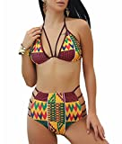 Bathing Suit,Sexy Two Piece Traditional African Print Push up Bathing Suit (Yellow,XL)