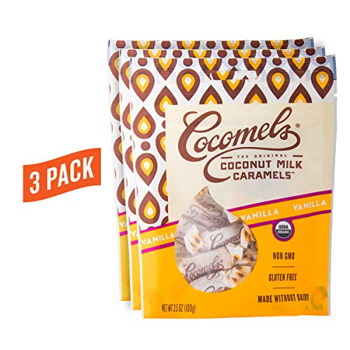 Cocomels Coconut Milk Caramels, Vanilla Flavor, Organic, Dairy Free, Vegan, Gluten Free, Non-GMO,No High Fructose Corn Syrup, Kosher, Plant Based, Individually Wrapped Candy, (3 Pack)