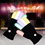 DAVITU Creative 7 Mode LED Finger Lighting Flashing Glow Mittens Gloves Rave Light Festive Event Party Supplies Luminous Cool Gloves