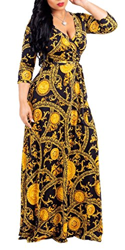 (shekiss Women's Casual Sexy V-Neck Floral Floor Length Long Sleeve Maxi Dress Party Prom Ladies Outfit with Belt Golden)
