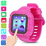 Kids smartwatch Game Watches Touch Screen Camera Video Recorder Watch for Boys Girls Children smartwatches Gifts (Pink)