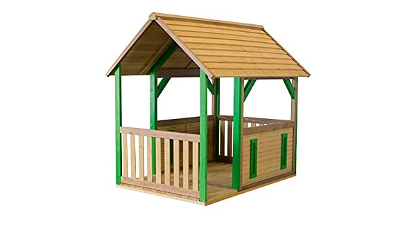 Beauty.Scouts Casa de madera con porche Tyr 172 x 118 x 178 cm de madera de cedro en color marrón refugio para niños, casa de juegos para niños, casa de jardín, casa